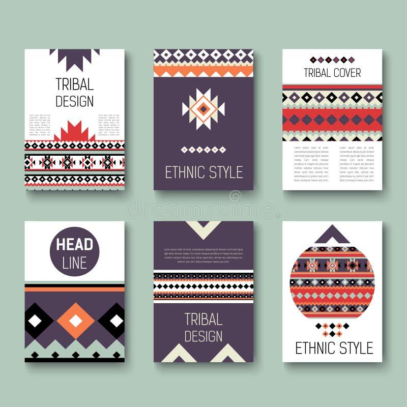 Insieme delle alette di filatoio variopinte astratte geometriche modelli etnici dell'opuscolo di stile raccolta delle carte triba royalty illustrazione gratis