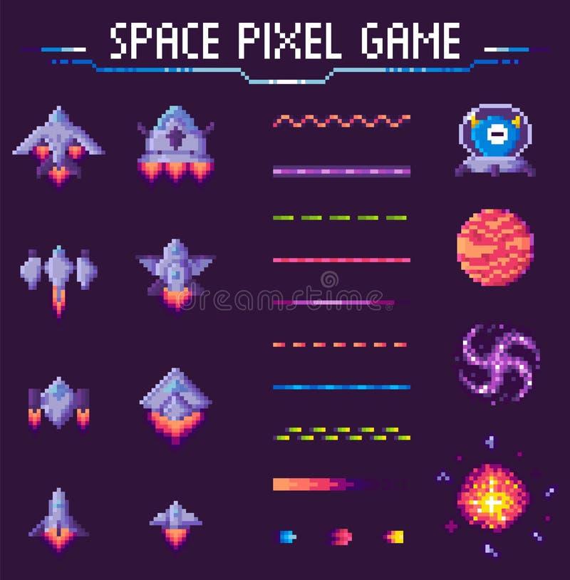 Insieme delle astronavi e dei pianeti del gioco del pixel dello spazio illustrazione di stock