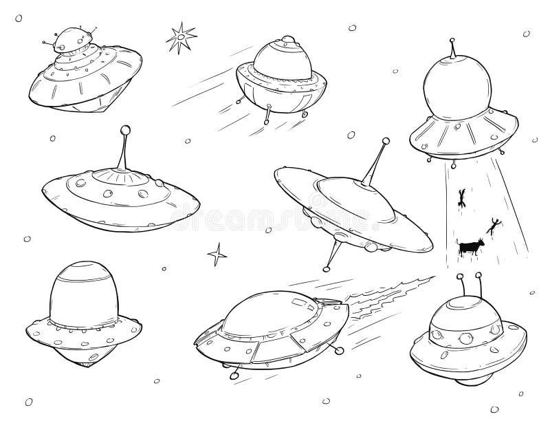 Insieme delle astronavi straniere del UFO del fumetto illustrazione vettoriale