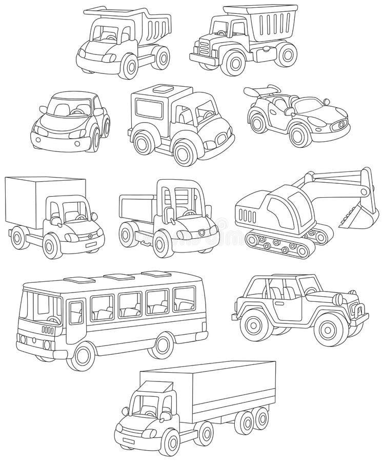 Insieme delle automobili, dei camion e dei bus del giocattolo illustrazione di stock