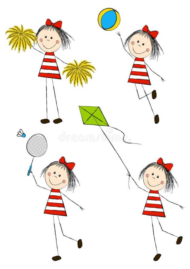 Insieme delle bambine attive illustrazione di stock