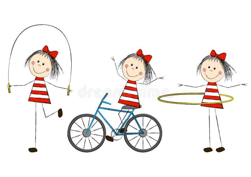 Insieme delle bambine sveglie illustrazione vettoriale