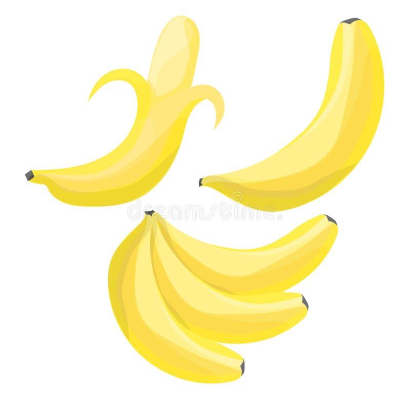 Insieme delle banane del fumetto Singola banana, banana sbucciata, casco di banane illustrazione vettoriale