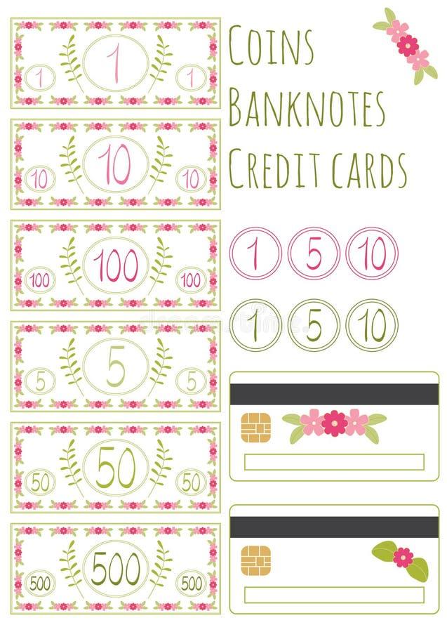 Insieme delle banconote di vettore, delle monete e delle carte di credito floreali per il gioco Isolato su priorità bassa bianca  illustrazione vettoriale