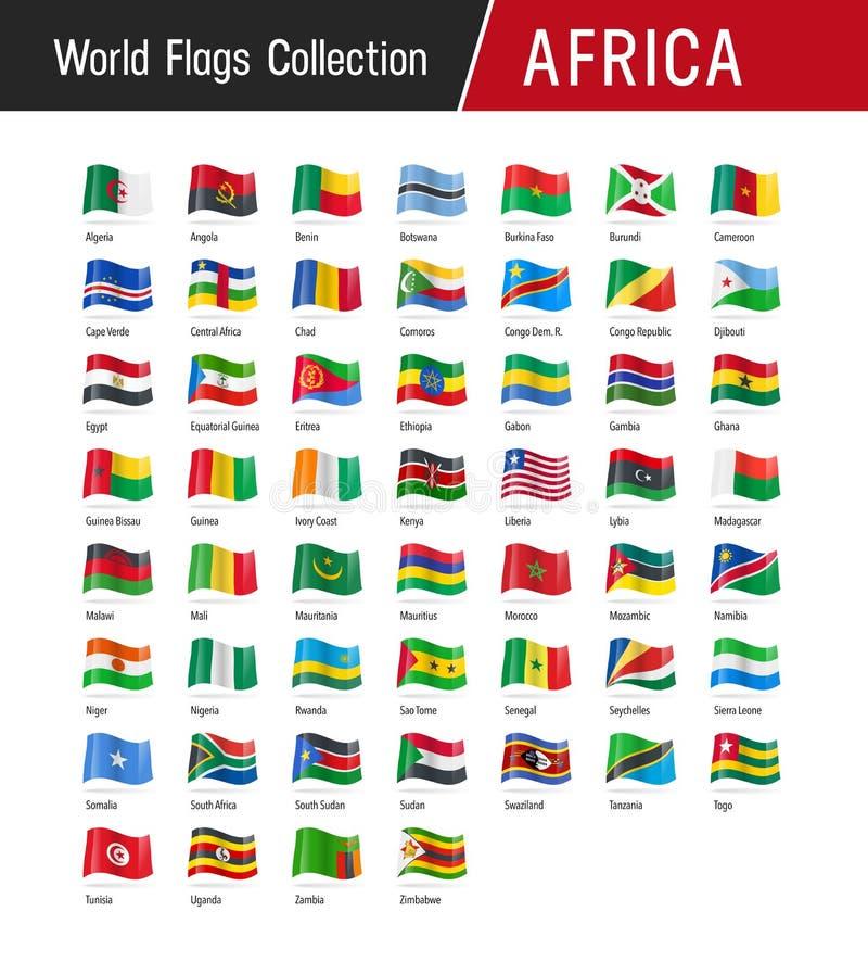 Insieme delle bandiere africane - illustrazioni di vettore