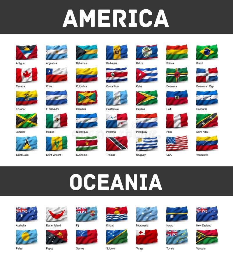 Insieme delle bandiere americane ed Oceanian royalty illustrazione gratis