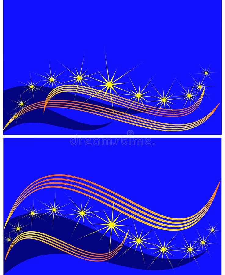 Insieme delle bandiere contro il cielo della stella, illustrazione vettoriale
