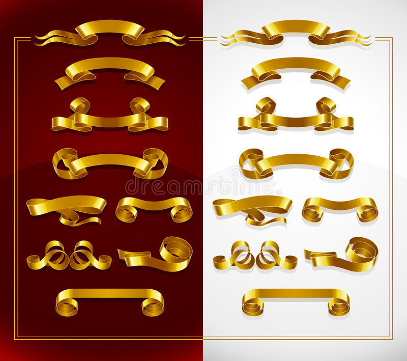 Insieme delle bandiere decorative dell'oro su rosso e su bianco royalty illustrazione gratis