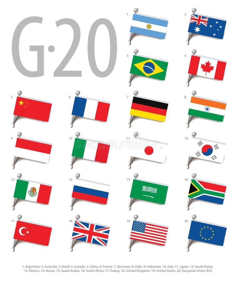 Insieme delle bandiere dei paesi - membri del gruppo di venti illustrazione di stock