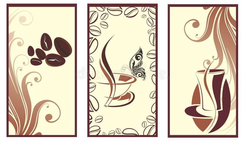 Insieme delle bandiere del caffè con la farfalla royalty illustrazione gratis