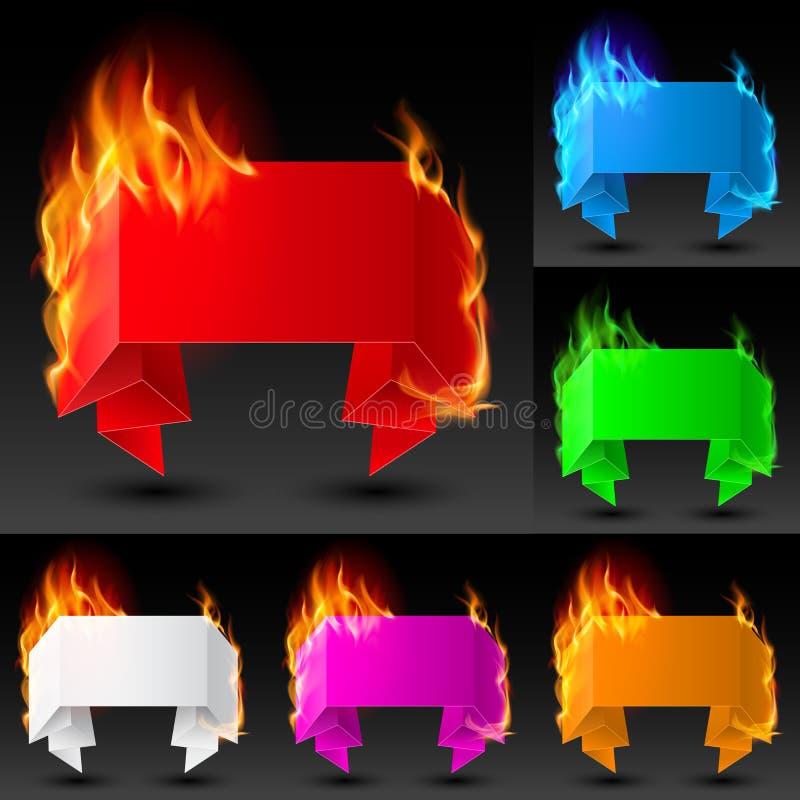 Insieme delle bandiere del fuoco illustrazione vettoriale