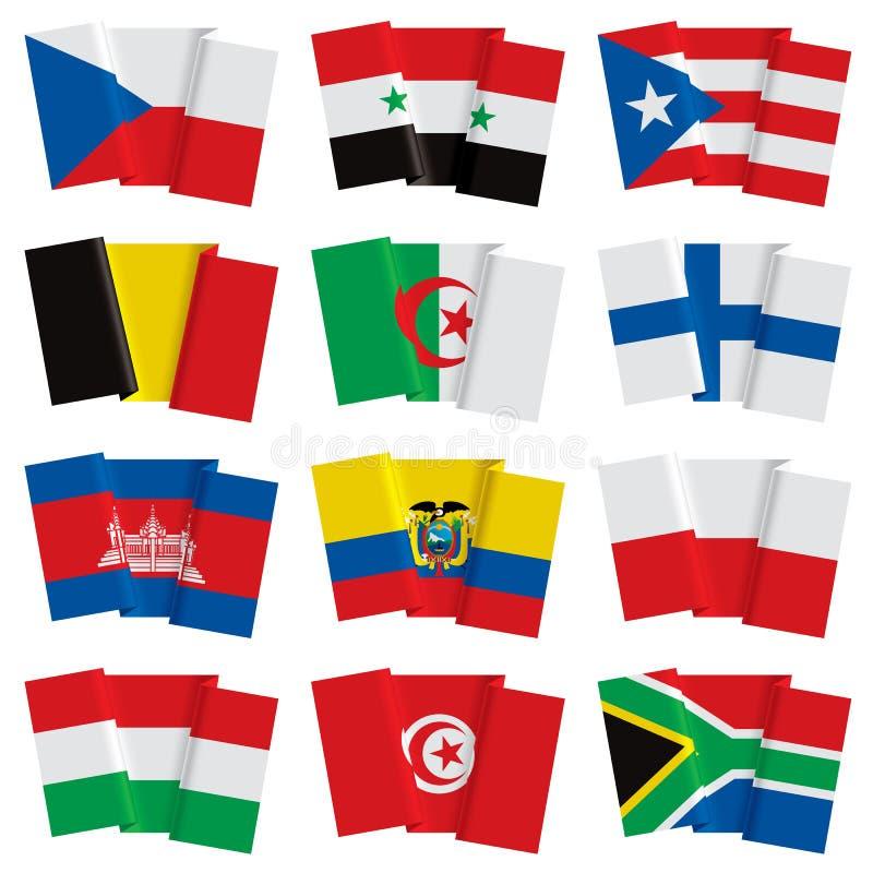 Insieme delle bandiere del mondo royalty illustrazione gratis