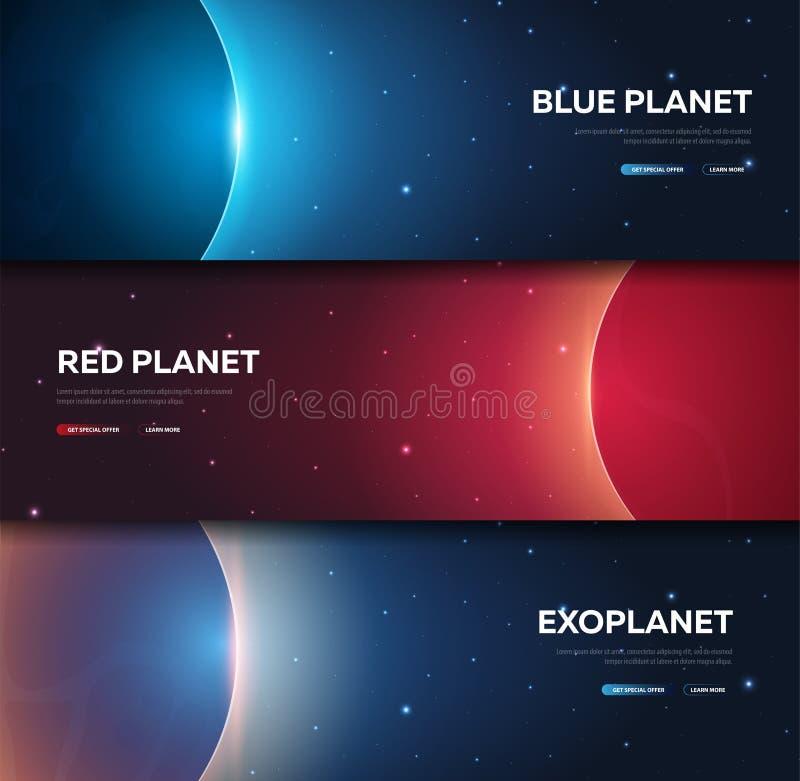 Insieme delle bandiere dello spazio Navetta spaziale Marte, terra, Exoplanet fondo astronomico dello spazio della galassia Illust illustrazione vettoriale