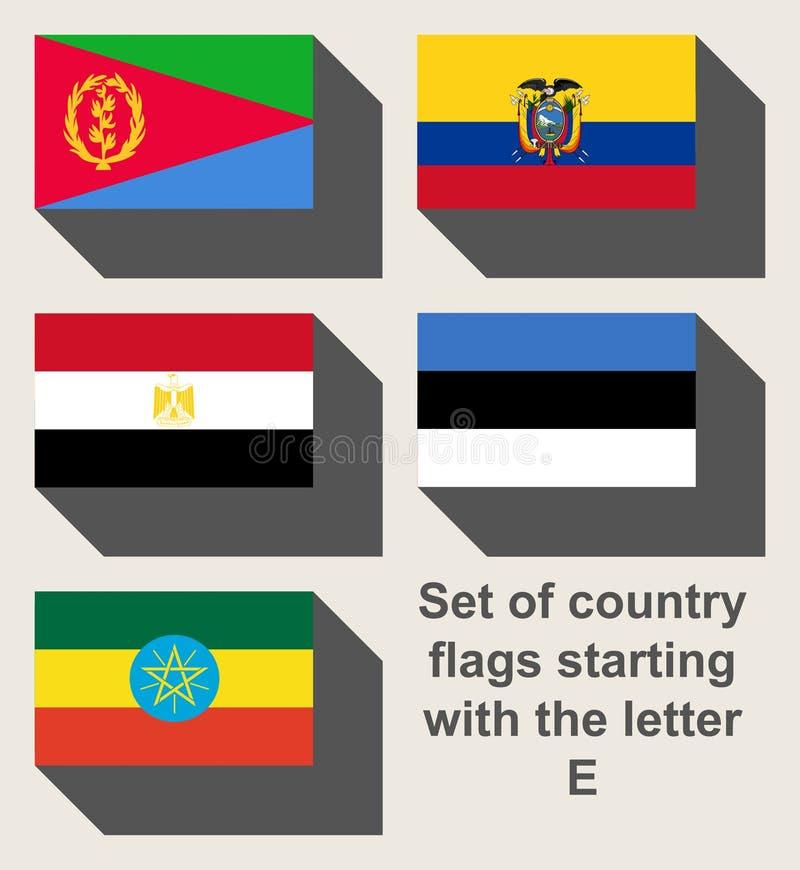 Insieme delle bandiere di paese che fissano con la E fotografia stock libera da diritti