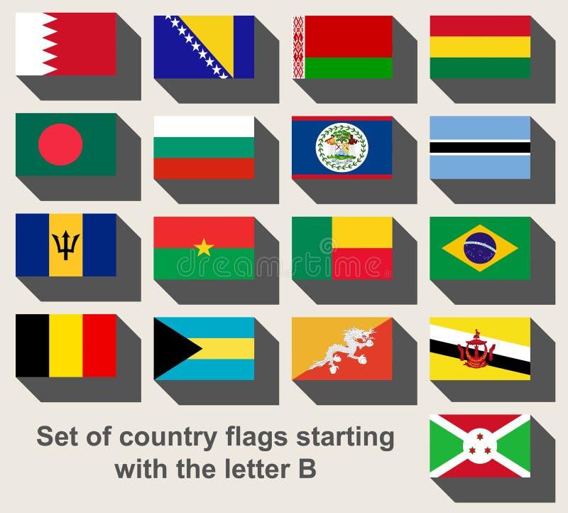 Insieme delle bandiere di paese che fissano con la lettera B immagini stock