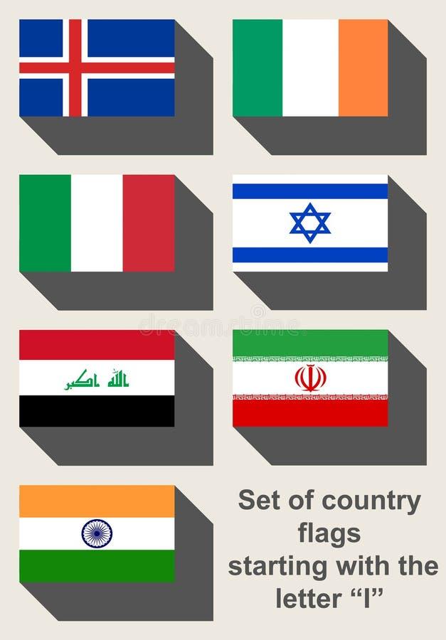 Insieme delle bandiere di paese che iniziano con la I fotografia stock libera da diritti