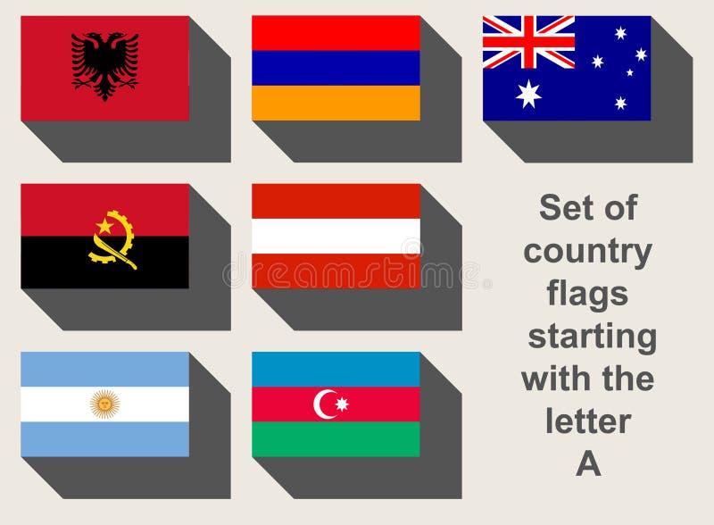 Insieme delle bandiere di paese di A immagini stock libere da diritti
