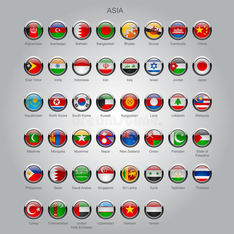 Insieme delle bandiere lucide rotonde dei paesi sovrani dell'Asia illustrazione vettoriale