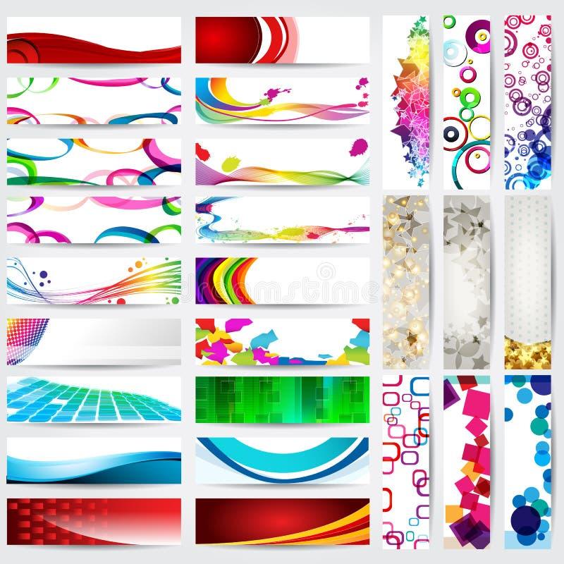 Insieme delle bandiere moderne e dettagliate di Web illustrazione vettoriale