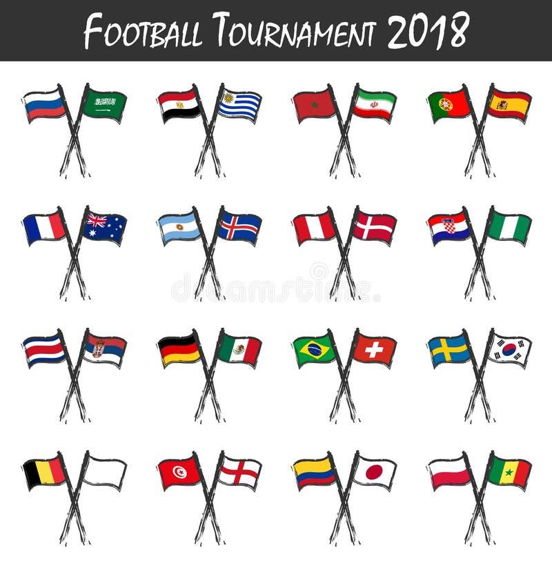 Insieme delle bandiere nazionali della squadra di calcio Concetto della partita di sport Bambino di arte dell'acquerello che dipi illustrazione vettoriale
