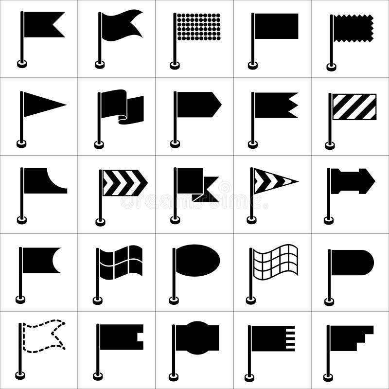 Insieme delle bandiere nere delle icone