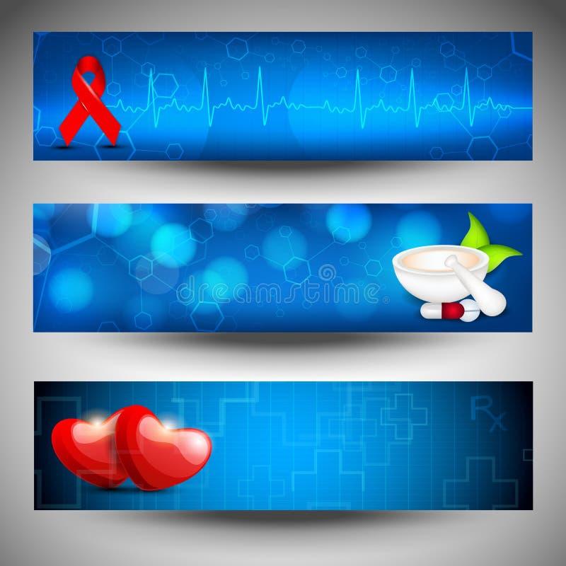 Insieme delle bandiere o delle intestazioni mediche di Web site. royalty illustrazione gratis