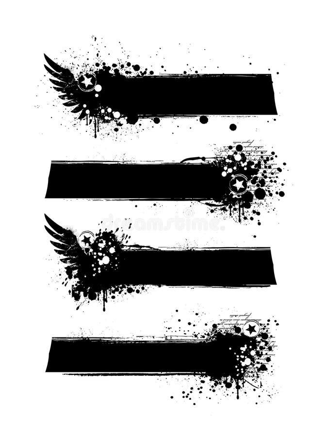 Insieme delle bandiere sporche del grunge royalty illustrazione gratis