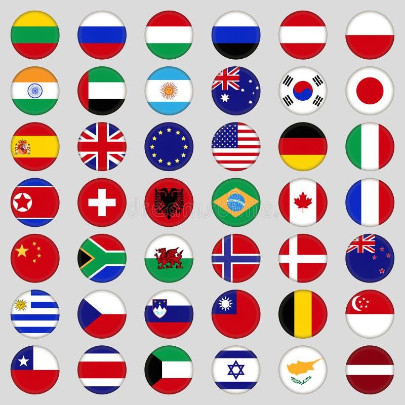 Insieme delle bandierine Cima, paese famoso Bandiere sotto forma di cerchio fotografia stock libera da diritti