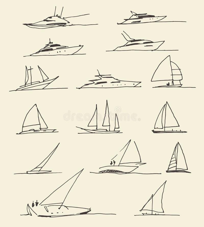 Insieme delle barche disegnate a mano, illustrazione di vettore illustrazione di stock