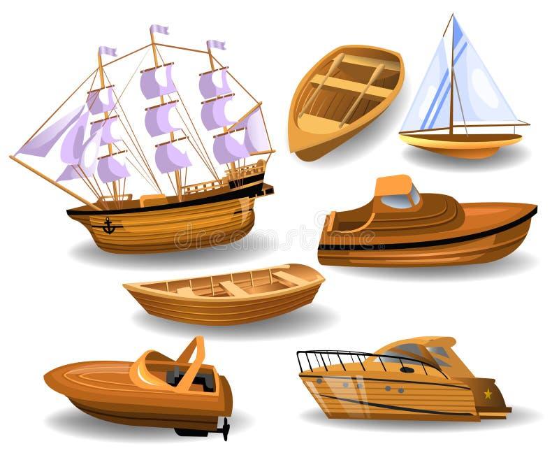 Insieme delle barche e delle navi di legno illustrazione vettoriale