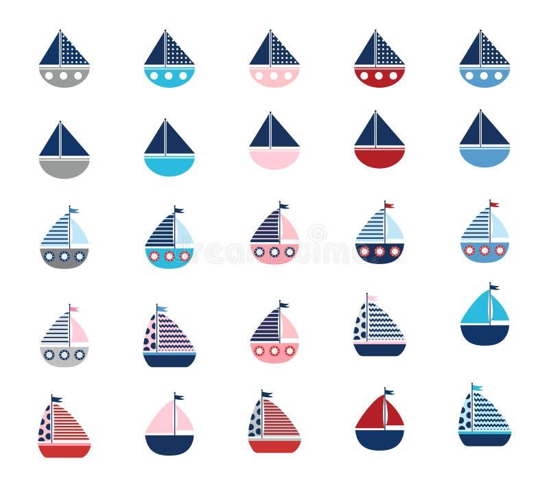 Insieme delle barche stilizzate di vettore illustrazione vettoriale
