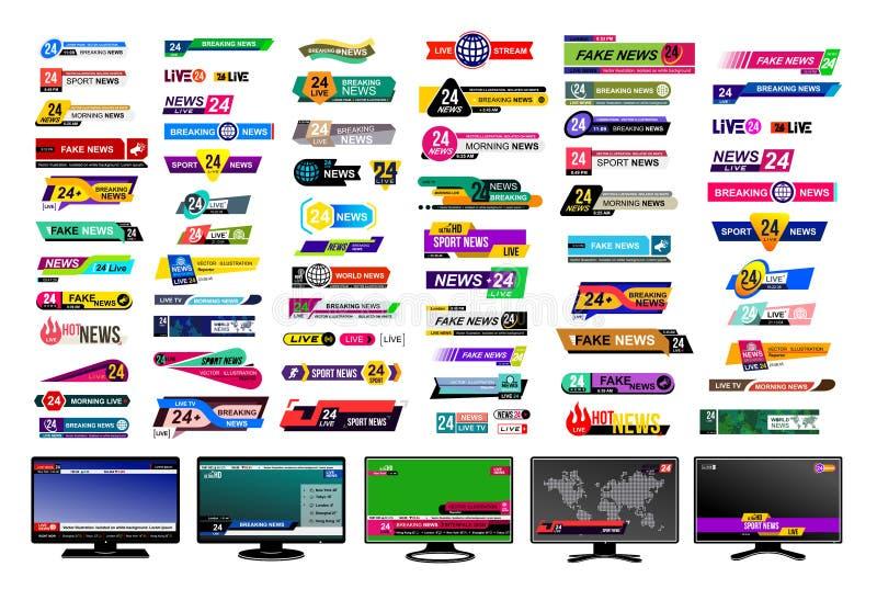 Insieme delle barre di notizie della TV Segno di notizie di progettazione, scorrente video Rompendosi, falsificazione, notizie di illustrazione di stock