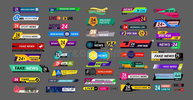 Insieme delle barre di notizie della TV Segno di notizie, scorrente video Rompendosi, falsificazione, notizie di sport Segno dell illustrazione vettoriale