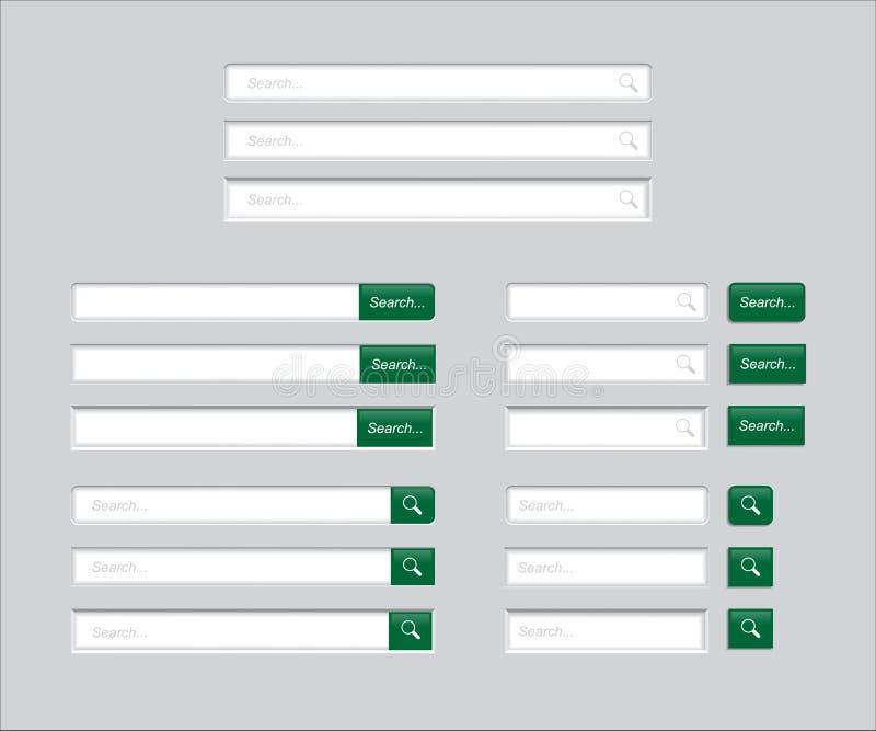 Insieme delle barre di ricerca isolate su fondo grigio Modello di vettore per la ricerca di Internet interfaccia Web-praticante i illustrazione vettoriale
