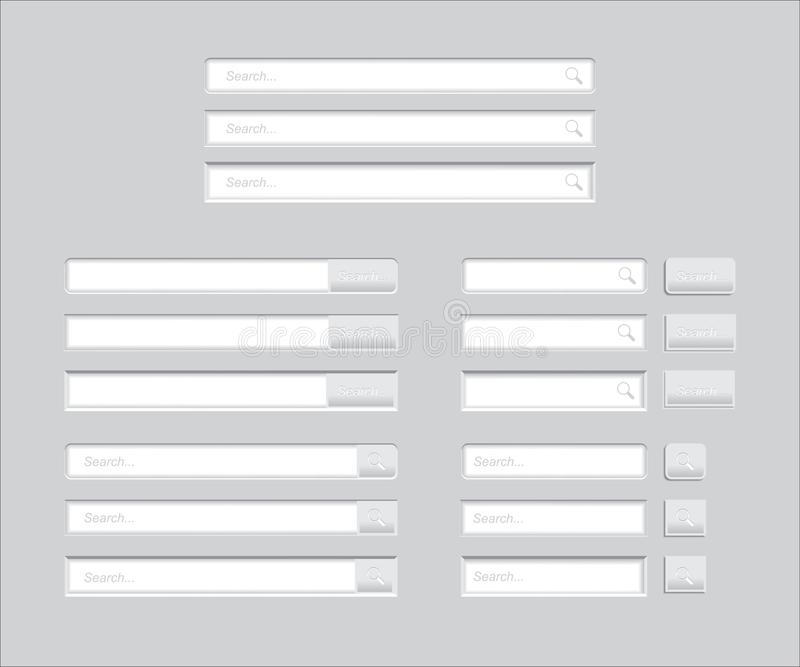 Insieme delle barre di ricerca isolate su fondo grigio Modello di vettore per la ricerca di Internet interfaccia Web-praticante i illustrazione di stock