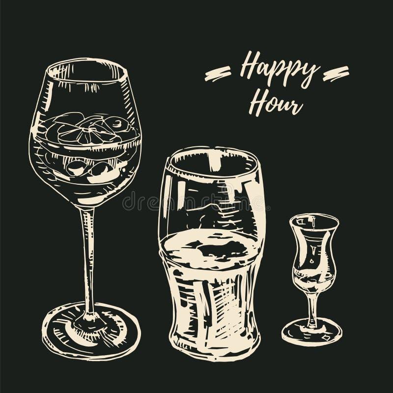 Insieme delle bevande di happy hour L'illustrazione di vettore, segna su stile della lavagna Vetro di vino con un cocktail, vetro royalty illustrazione gratis