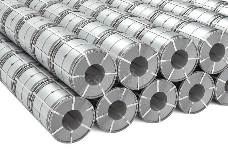 Insieme delle bobine dell'acciaio inossidabile Rolls della lamiera di acciaio, rappresentazione 3D royalty illustrazione gratis