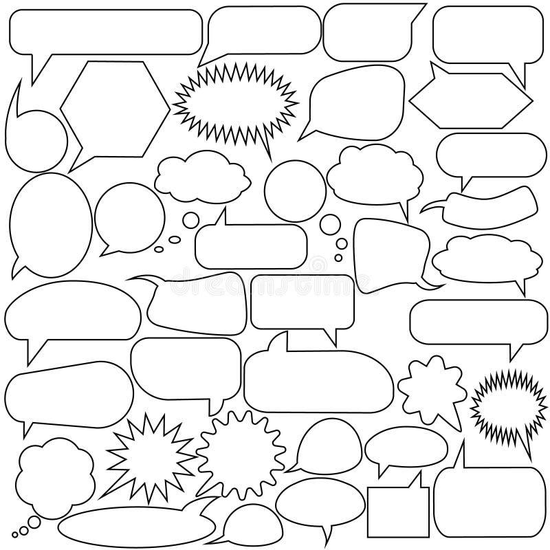 Insieme delle bolle di discorso Fumetti vuoti in bianco di bianco di vettore Progettazione di parola del pallone del fumetto illustrazione di stock