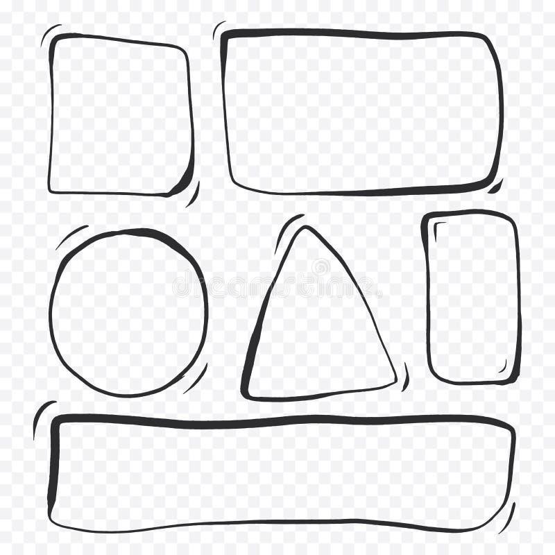 Insieme delle bolle disegnate a mano con la matita nello stile minimalista Schizzo comico con usando la geometria Linee semplici  royalty illustrazione gratis