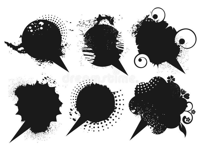 Insieme delle bolle nere di discorso del grunge illustrazione vettoriale
