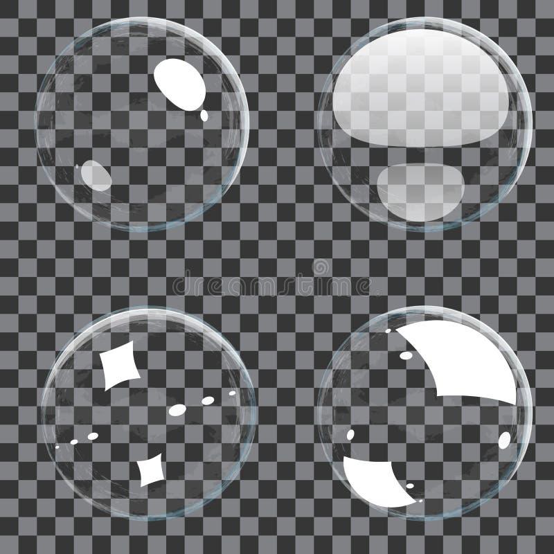 Insieme delle bolle trasparenti royalty illustrazione gratis