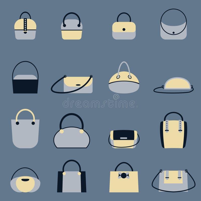 Insieme delle borse alla moda delle donne s - borse del totalizzatore, del cliente, del vagabondo, del secchio, della cartella e  illustrazione di stock