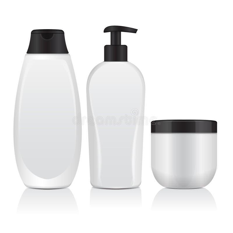 Insieme delle bottiglie cosmetiche realistiche Metropolitana, contenitore per crema, bottiglia con Dispencer Derisione di vettore royalty illustrazione gratis