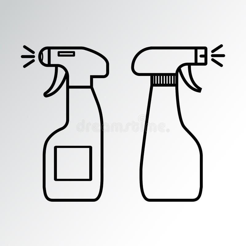 Insieme delle bottiglie dello spruzzo Agente di sgrassatura Illustrazione di vettore illustrazione di stock