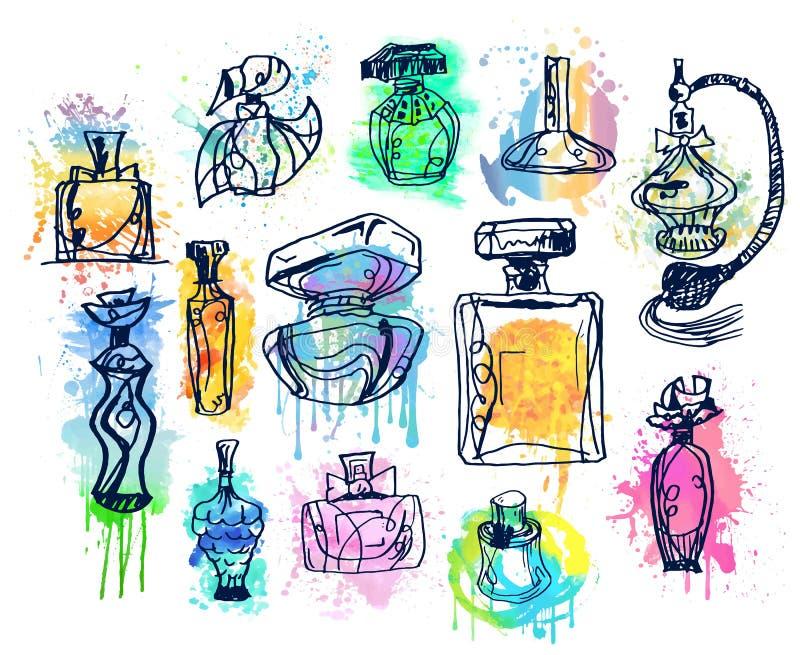 Insieme delle bottiglie di profumo Raccolta degli aromi illustrazione vettoriale