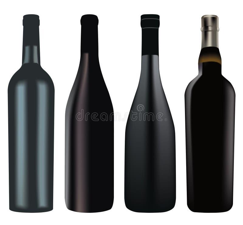 Insieme delle bottiglie di vino differenti royalty illustrazione gratis