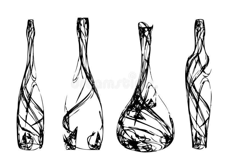 Insieme delle bottiglie stilizzate illustrazione vettoriale