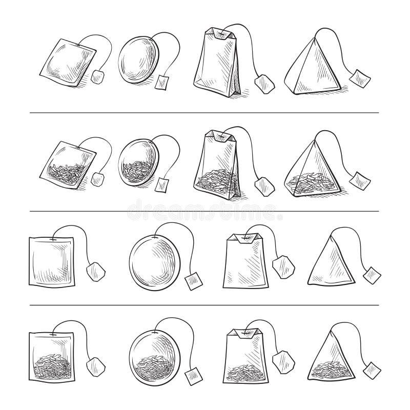 Insieme delle bustine di tè illustrazione vettoriale