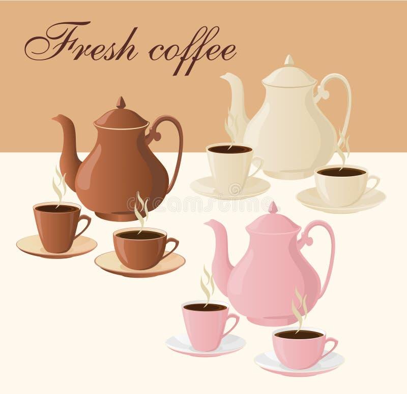 Insieme delle caffettiere e delle tazze di caffè isolate illustrazione di stock