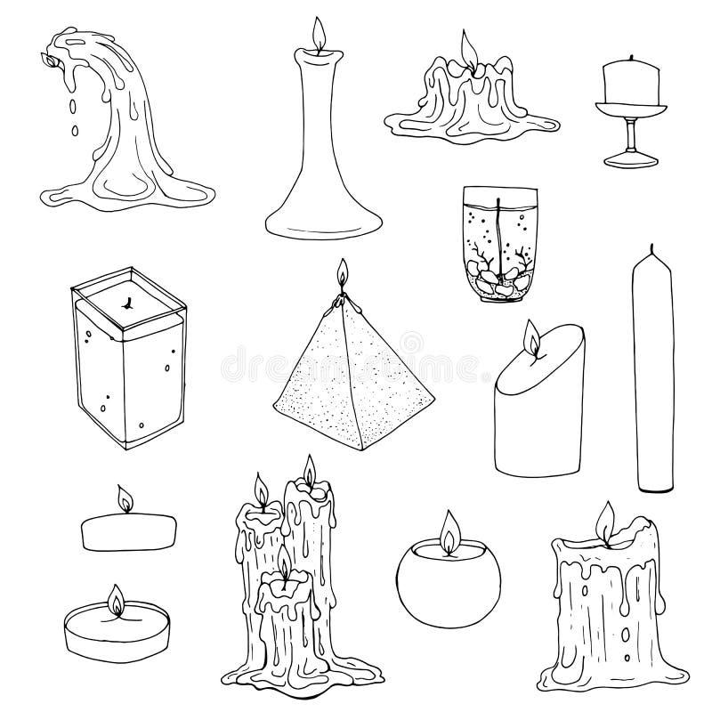 Insieme delle candele profumate e fuse del gel e della cera illustrazione di stock